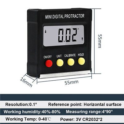 Measuring Inclinometer Electronic Level Box Angle Gauge Meter Digital Protractor 3