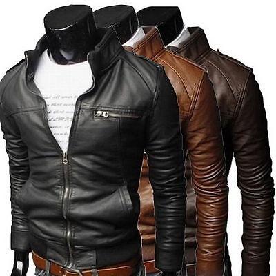Men S Fashion Jackets Collar Slim Biker Motorcycle Leather Jacket