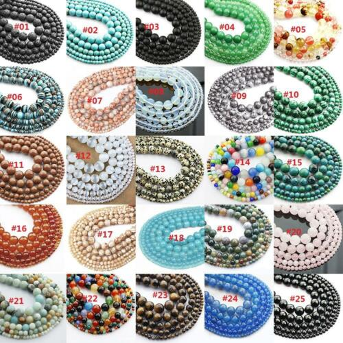 Wholesale Lot Gemstone Round Spacer Loose Beads 4mm 6mm 8mm 10mm 12mm #e 2