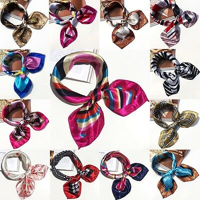 Small Vintage Head Neck Hair Tie Band Women Ladies Square Silk Feel Satin Scarf 2