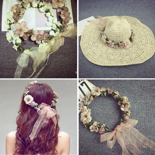 Women Wedding Party Flower Hair Garland Crown Headband Floral Wreath Hairband AU