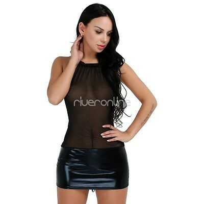 Damen Lingerie Dessous Lackleder Negligee Clubwear Babydoll Partykleid Schwarz 6