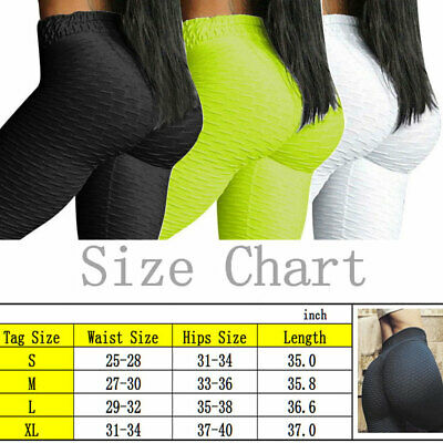 Womens Yoga Gym Anti-Cellulite Compression Leggings Push Up Fitness Sport Pants 10