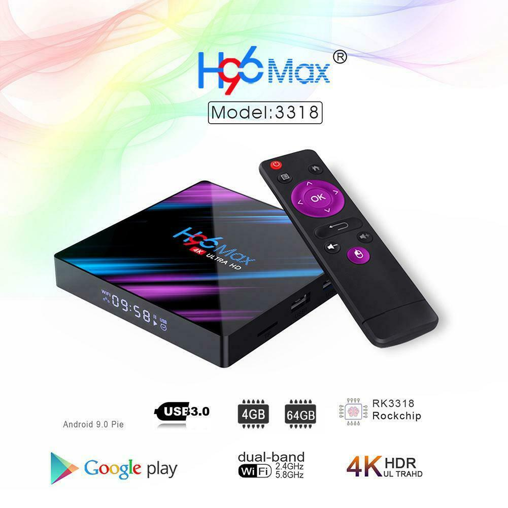 H96 MAX RK3318 Smart TV BOX Android 9.0 4GB 64GB Quad Core 1080p 4K Meida Player 4