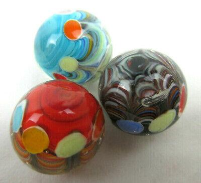 2x PEACOCK 16mm Handmade Art Glass Orange Blue Green Yellow Red Design Marbles