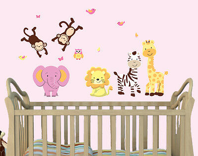 SAFARI ANIMAL DECALS, Girls Room Wall Art, Wall Stickers, Elephant ...