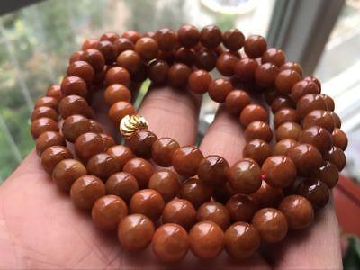 Certified 100% Brown Red Jadeite Jade Round Beads Necklace 8mm108 beads:2452 4