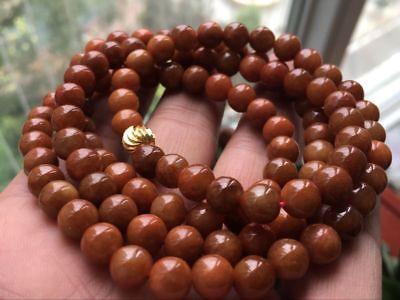 Certified 100% Brown Red Jadeite Jade Round Beads Necklace 8mm108 beads:2452 2