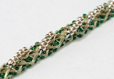 5 Yards Braid Ribbon Lace Light Gold Metallic Trim with Beads
