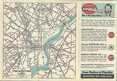 1939 Amoco Norman Rockwell Art Road Map Pennsylvania New Jersey Ohio