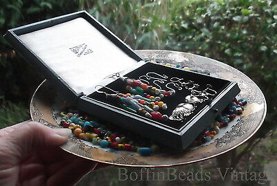 Antique tassel EARRINGS Venetian Bohemian vintage beads LONG .925 colourful Afro 12