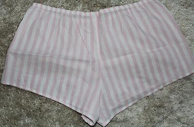 NWT Victoria's Secret Cotton Blend Pink/ White Striped Pajama Shorts sz S 3