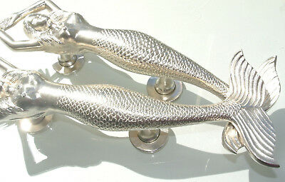 "PAIR large right MERMAID solid brass door PULL heavy handle 15"" SILVER L & R B 3"