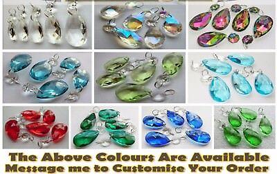 5 Crystals Drops Glass Beads Chandelier Light Prisms Parts Vintage Look Droplets 7