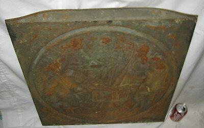 Antique Cast Iron Fireplace Cover Country Bronze Panel Music Art Plaque Monkey 6