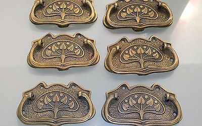 6 medium DECO cabinet handles solid brass furniture vintage age old style 95mm B 7