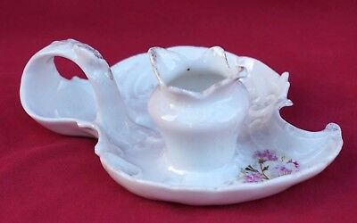 French Gilt & Transferware Porcelain Scalloped Candlestick 1910 3