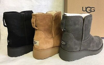 1ee7216e5a2 UGG AUSTRALIA KRISTIN 1012497 Women's Black Chestnut Grey Sheepskin Wedge  Boots