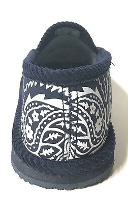 ... Trooper America Navy Blue White Bandana Canvas/Corduroy Slippers House Shoes 2