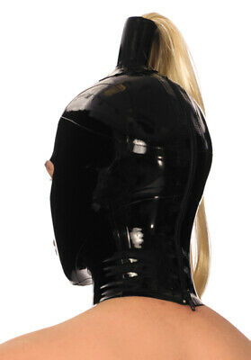 Latex Rubber Gummi Pony Tail Wig Full Face Mouth Hole Hood Mask Customized 0.4mm 3