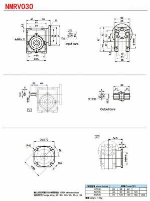 Worm Gear Reducer Speed Ratio 10:1 15:1 30:1 NMRV030 56B14 for Stepper Motor 12