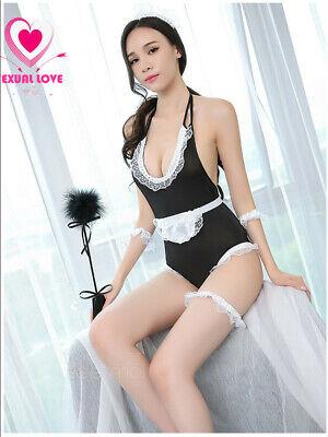 Completo Costume Vestito Cameriera Maid Serva Lingerie Body Cavallo Aperto Sexy 8