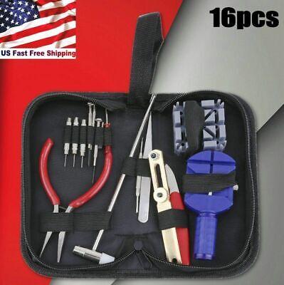 16pcs Watch Repair Tool Kit Link Remover Spring Bar Tool Case Opener Set New US 12