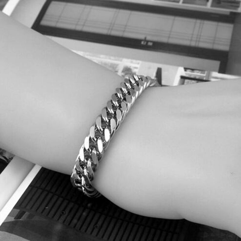 Men's Stainless Steel Silver Chain Link Bracelet Wristband Bangle Jewelry Punk 4
