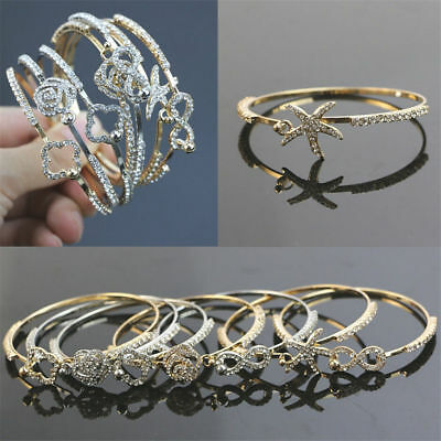 Fashion Flower Crystal Rhinestone Gold Silver Chain Bangle Bracelet Jewelry 4