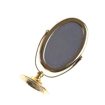 Miniature Oval Swing Dressing Mirror in Brass Stand Dolls House Accessories he