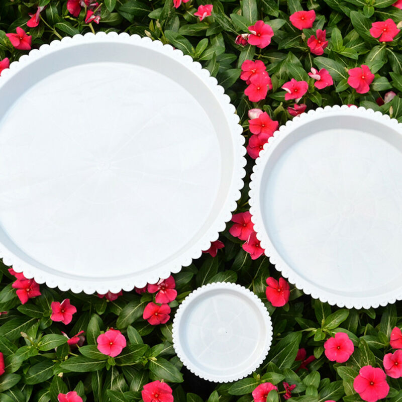 plastic garden flower pot plant saucers water tray base indoor outdoor clear YH