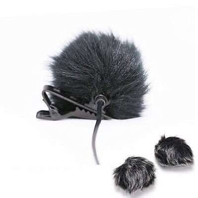 Black Fur Windscreen Windshield Wind Muff for Lapel Lavalier Microphone Mic 3C 2