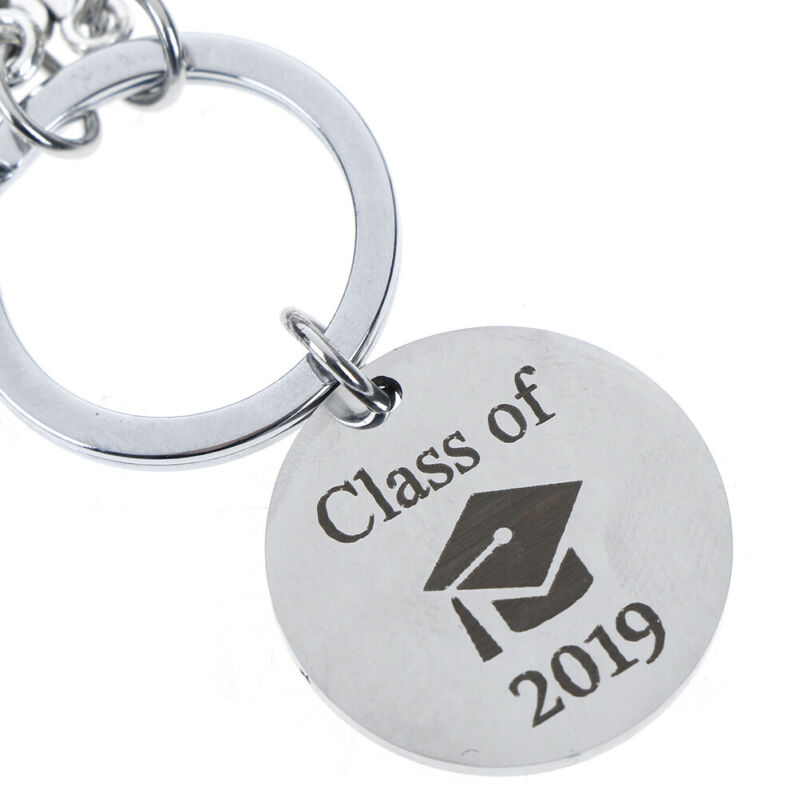 Graduation Keychain Engraved Class of 2019 Grad Gift Keyring Stainless Keych YBF