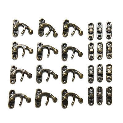 12 X Padlock Hasp Hook Horns Antique Metal Jewelry Box Buckle Shackle Lock 2