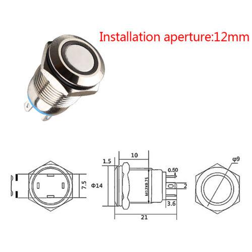 12mm Metall Ringförmige Drucktaste Schwarz Schalter Ring LED Momentary Latching