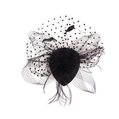 Elegant Lady Top Net Mesh Birdcage  Feather Fascinator Hairpin Hat Clip YNFK 2