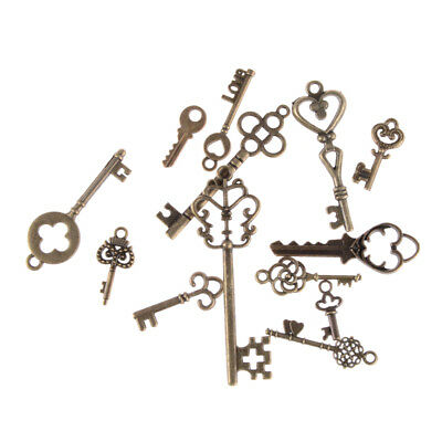 13pcs Mix Jewelry Antique Vintage Old Look Skeleton Keys Tone Charms Pendants KQ 4