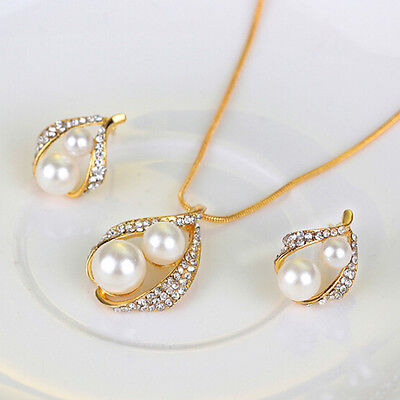 New Bridal Bridesmaid Wedding Jewelry Set Crystal Pearl Necklace Earrings Ring B 5