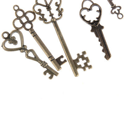 13pcs Mix Jewelry Antique Vintage Old Look Skeleton Keys Tone Charms Pendants KQ 6