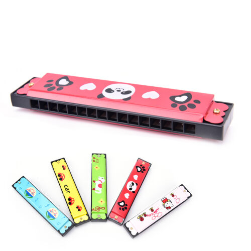 Kids Metal Cartoon 16 Holes Harmonica Mouth Organ Musical Instruments Toy FG