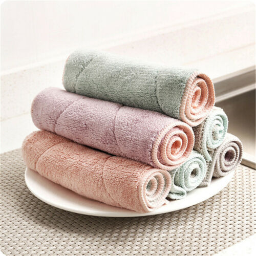 6pcs Anti-grease Dishcloth Duster Wash Cloth Hand Towel Cleaning Wiping Rags@J 5