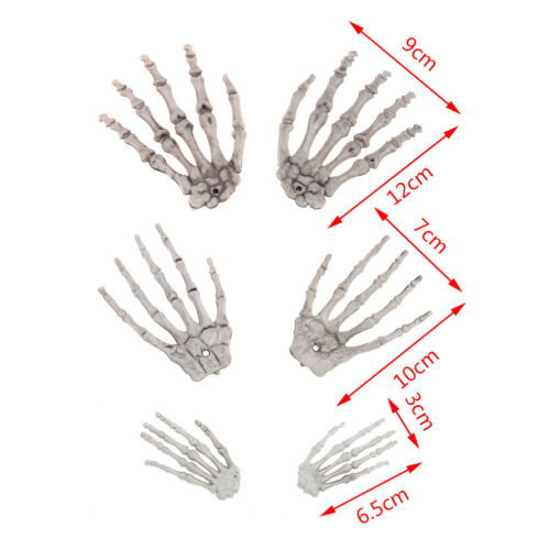 2Pcs Halloween Skull Skeleton Human Hand Bone Terror Adult HV