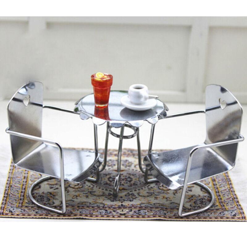 Table/&Chairs Set Dollhouse Miniature Furniture Iron Metal White Leisure WG015