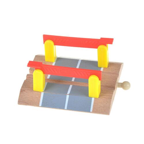 Wooden Railway Accessories Railroad Crossing Bridge Train Slot Track Toys fH