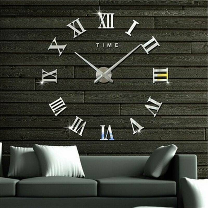 DIY 3D Large Number Mirror Wall Clock Sticker Decor for Home Office Kids Room 4