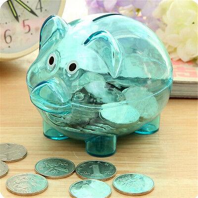 Clair plastique transparent cochon forme argent caisse tirelire IU