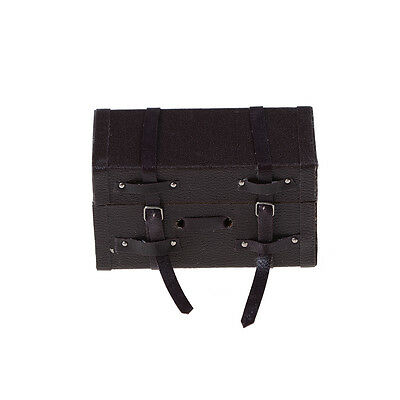Fashion Retro 1:12 Dollhouse Miniature Leather Wood Suitcase Mini Luggage Box BS 3