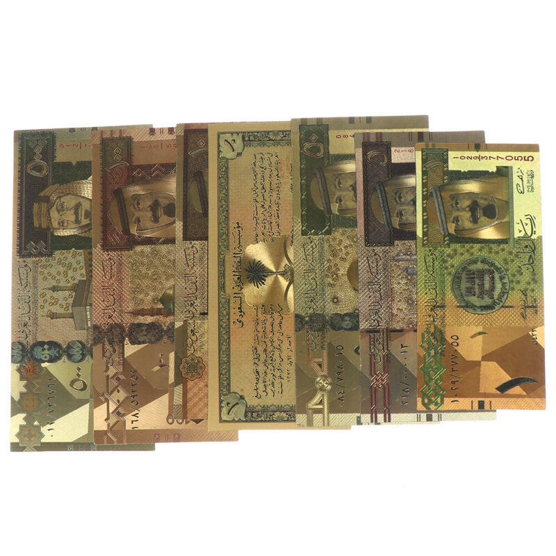 7pcs Euro Banknote Gold Foil Paper Money Crafts Collection Note Currency LR