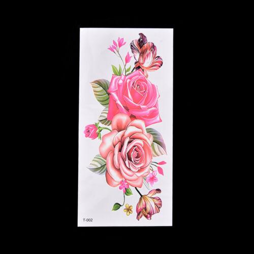 Faux Tatouage Temporaire Rose Rose Fleur Bras Corps Impermeable
