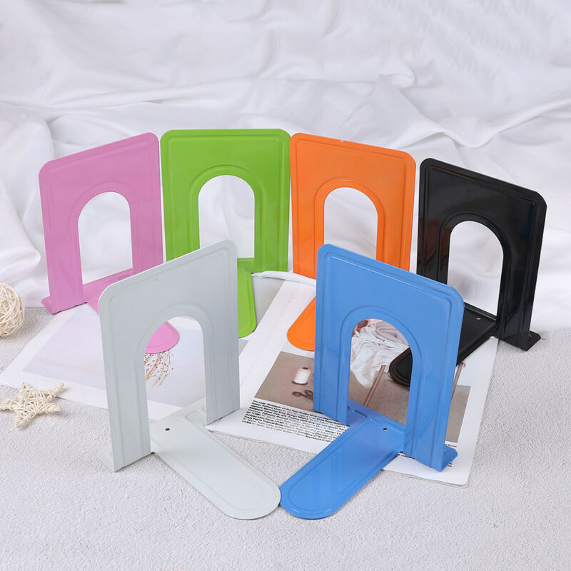 Colourful Heavy Duty Metal Bookends Book Ends Office Stationery  JP